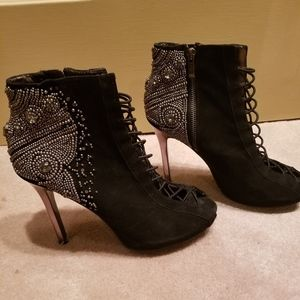 Embellished Black Suede Sam Edelman Dress Shoes